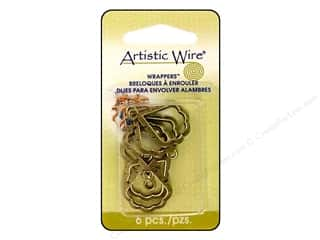 Clearance Blumenthal Favorite Findings: Artistic Wire Wrappers 21.5 x 19.5 mm Pear Antique Brass 6pc.