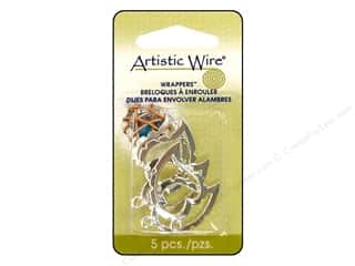 Artistic Wire Wrappers Curved Heart Silver Plt 5pc