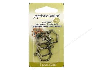 Artistic Wire Charms and Pendants: Artistic Wire Wrappers 20.5 x 18.5 mm Hexagon Hematite 5pc.