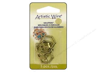Artistic Wire Wrappers 20.5 x 18.5 mm Hexagon Antique Brass 5pc.