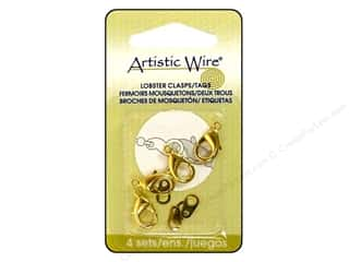 Clasps: Artistic Wire Clasp Lobster &amp; Tag Gold 4pc