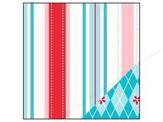 Bazzill Paper 12x12 Red Dash Stripe/Argyle Teal