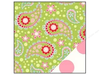 Bazzill Papers: Bazzill Paper 12x12 Divinely Sweet Green Paisley/Jumbo Pink Dot 25 pc.