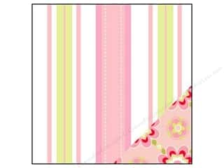 Bazzill 12 x 12 in. Paper Pink Dash Stripe/Stencil Flower 25 pc.