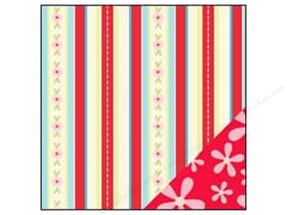 Bazzill Blue: Bazzill 12 x 12 in. Paper Divinely Sweet Flower Power Red/Flower Stripe 25 pc.