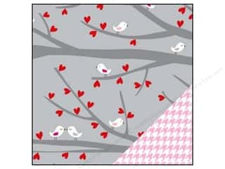 Bazzill Paper 12x12 Love Story Birds/Pink Houndstooth