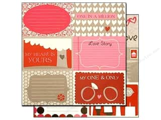 Clearance Bazzill Lickety Slip Journaling Cards: Bazzill 12 x 12 in. Paper Lickety Slip Love Story Horizontal 25 pc.
