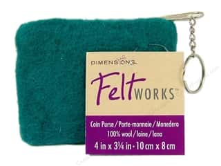 Dimensions Feltworks 100% Wool  Coin Purse Turq
