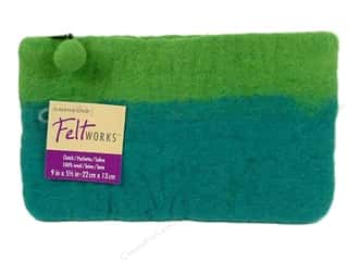Dimensions: Dimensions Feltworks 100% Wool Purse Clutch Turq/L