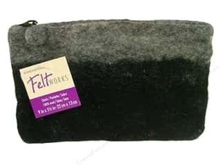 Dimensions Feltworks 100% Wool Purse Clutch Blk/Gr