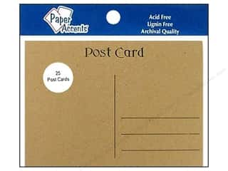 "Paper Accents Post Cards 4.25""x 5.5"" Brwn Bag 25pc"