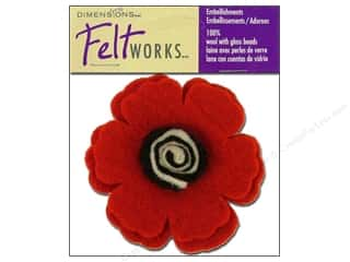Lacis Wool Felting Supplies: Dimensions Feltworks 100% Wool Felt Embellishment Poppy Flower