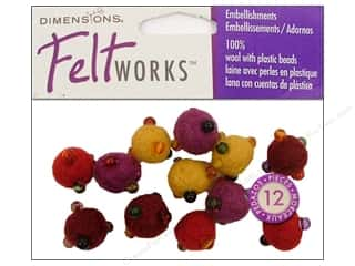 Beads Felting: Dimensions Feltworks 100% Wool Felt Embellishment Balls Warm Mini Beaded