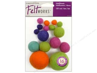 Beads Felting: Dimensions Feltworks 100% Wool Felt Embellishment Balls Bright Assortment
