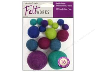 Wool Scrapbooking: Dimensions Feltworks 100% Wool Felt Embellishment Balls Cool Assortment