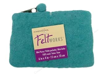 Dimensions: Dimensions Feltworks 100% Wool Mini Purse Aqua
