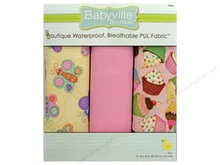 Fabric Dritz Babyville Boutique PUL Fabric: Dritz Babyville Boutique PUL Fabric 3 pc. Butterflies & Cupcakes