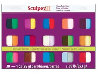 Clay & Modeling $3 - $4: Sculpey III Polymer Clay Color Sampler 30 pc.