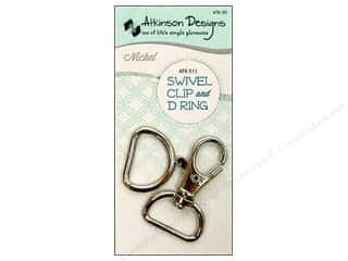 Purse Making: Atkinson Designs Swivel Clip And D Ring 3/4 in. Nickel
