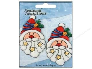 Expo Iron On Applique Santa Face &amp; Stars 2pc