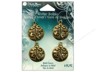 Blue Moon Beads Metal Charms Ornament Ball 4pc Brass