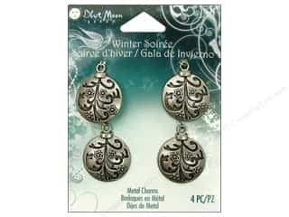 Blue Moon Beads Metal Charms Ornament Ball 4pc Silver
