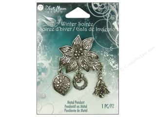 Clearance Blue Moon Pendant: Blue Moon Pendant WS Metal Poinsettia Charm Slvr