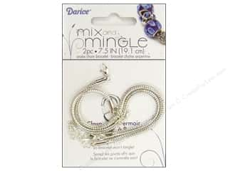 "Bracelets: Darice Jewelry Designer Bracelet Mix & Mingle 7.5"" Chain Sterling Silver 2pc"