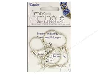 "Bracelets: Darice Jewelry Designer Bracelet Mix & Mingle 8.5"" Chain Sterling Silver 2pc"