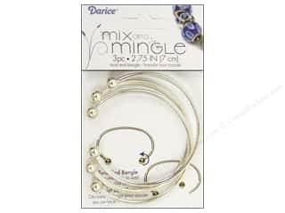 "Jewelry Making Supplies Jewelry Displayers: Darice Jewelry Designer Bracelet Mix & Mingle Bangle Twist End 2.75"" Sterling Silver 3pc"