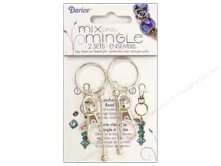 Darice Jewelry Designer Findings Mix & Mingle Key Chain with Bead Pin Sterling Silver 2pc