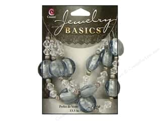 Beads mm: Cousin Basics Glass and Metal Beads 15 mm Bicone Round Smoke Clear