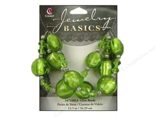 Sale $12 - $16: Cousin Basics Glass and Metal Beads 15 mm Bicone Round Green