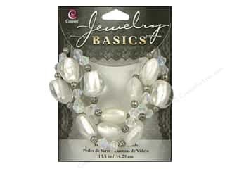 Cousin Basics Glass and Metal Beads 15 mm Bicone Round Clear AB