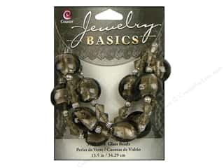 Metal mm: Cousin Basics Glass and Metal Beads 15 mm Bicone Round Smoke