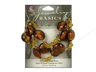 Sale $12 - $16: Cousin Basics Glass and Metal Beads 15 mm Bicone Round Dark Topaz