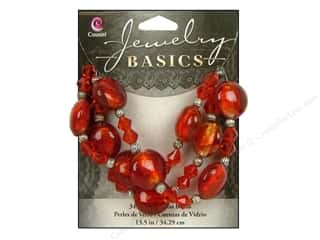 Beading & Jewelry Making Supplies Cousin Beads: Cousin Basics Glass and Metal Beads 15 mm Bicone Round Red