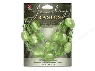Sale $12 - $16: Cousin Basics Glass and Metal Beads 15 mm Bicone Round Light Green