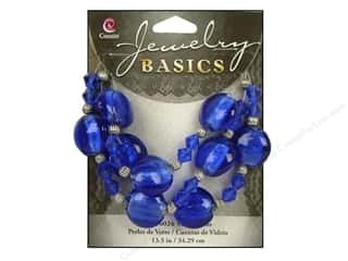 Beads: Cousin Basics Glass and Metal Beads 15 mm Bicone Round Sapphire