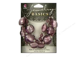Cousin Basics Glass and Metal Beads 15 mm Bicone Round Purple