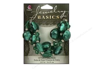 Metal mm: Cousin Basics Glass and Metal Beads 15 mm Bicone Round Teal