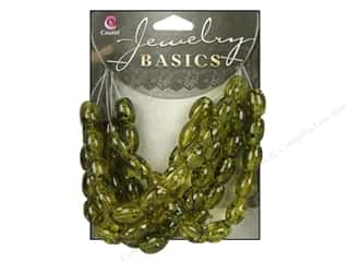 Cousin Bead Glass Floral Print 8x11mm Olive 55pc