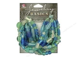 Cousin Basics Glass Beads 50 gram Mixed Hues and Shapes Aqua