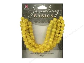 Cousin Basics Glass Beads 6 mm Round Cracked Yellow 85 pc.