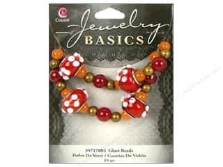 Cousin Bead Glass Lg Hole Mix Red 29pc