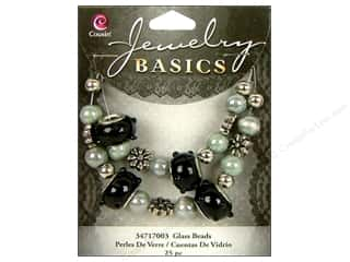 Cousin Bead Glass Lg Hole Mix Black/Grey 25pc