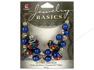 Cousin Bead Glass Large Hole Mix Dark Blue 29pc