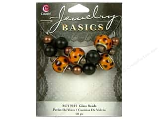 Cousin Bead Glass Large Hole Mix Black/Brown 18pc