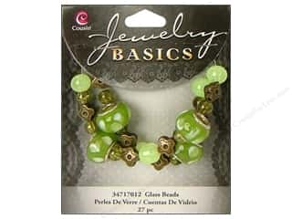 Cousin Bead Glass Lg Hole Mix Green 27pc