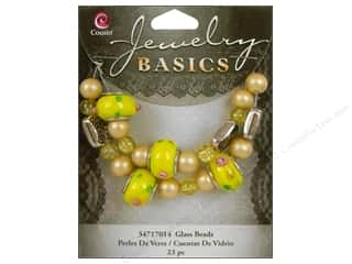 Cousin Basics Glass Mix Beads Large Hole Yellow 23 pc.